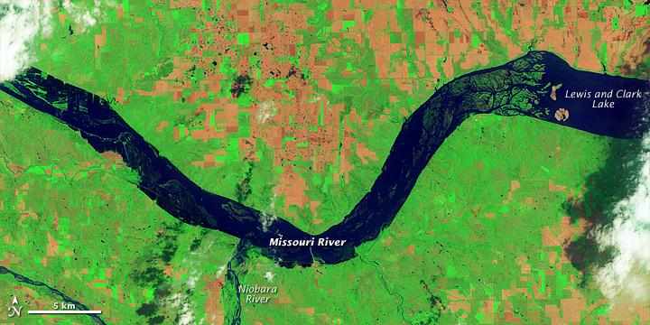 Flooding around Lewis and Clark Lake, South Dakota