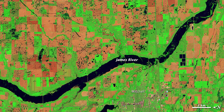 Flooding along the James River, South Dakota