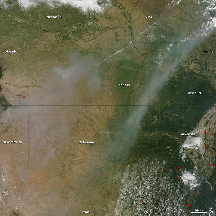 Smoke over the U.S. Midwest