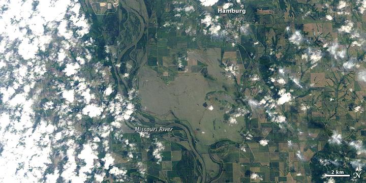 Flooding near Hamburg, Iowa