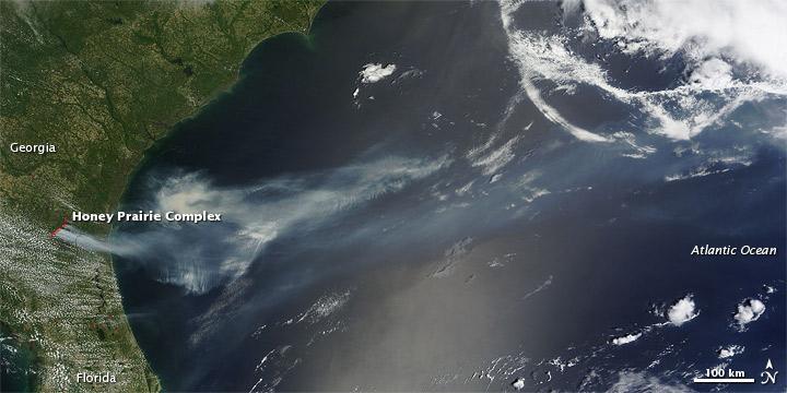 Smoke from Honey Prairie Complex Fire, Georgia