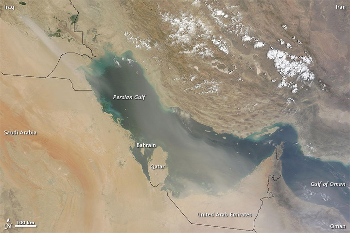 Dust Plumes over the Persian Gulf