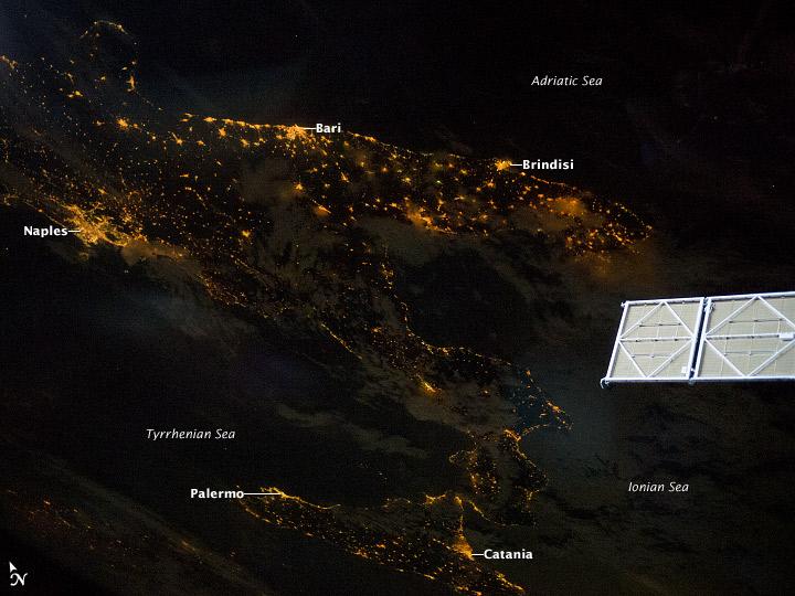 Southern Italian Peninsula at Night