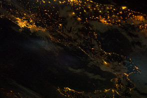 Southern Italian Peninsula at Night
