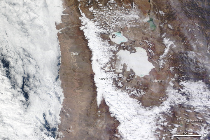 Rare Snow in Atacama Desert, Chile