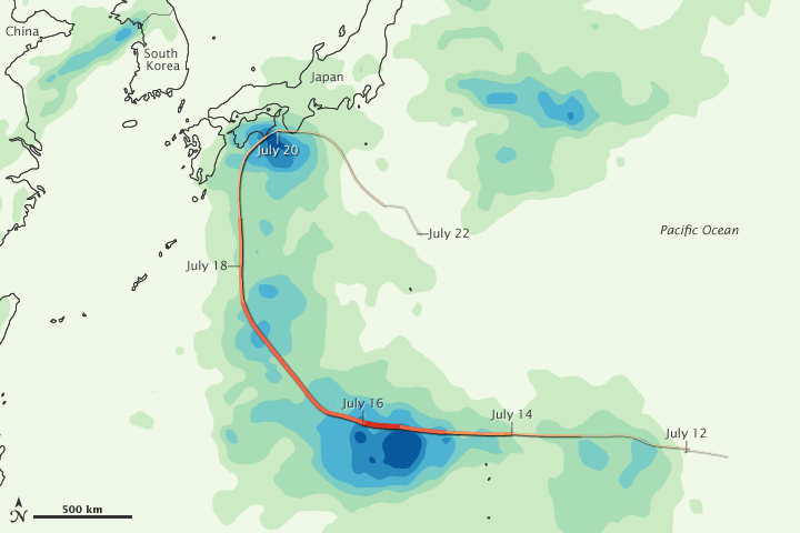 Rainfall from Typhoon Ma-on