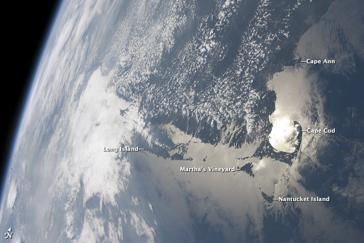 Massachusetts Coastline in Sunglint