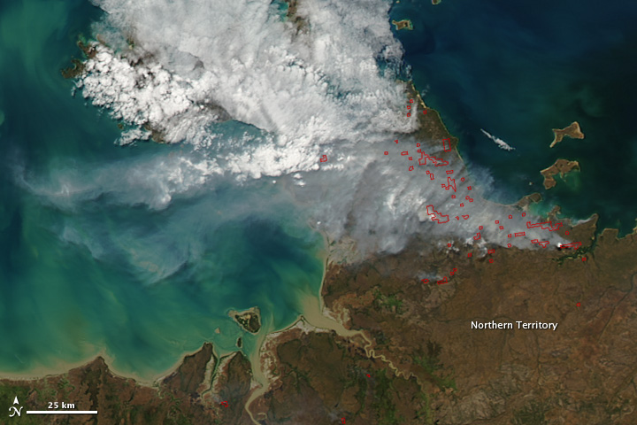 Fires in Arnhem Land, Australia
