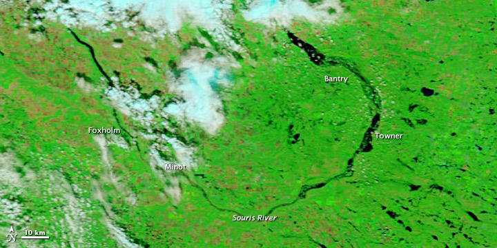 Flooding Slowly Recedes along the Souris River