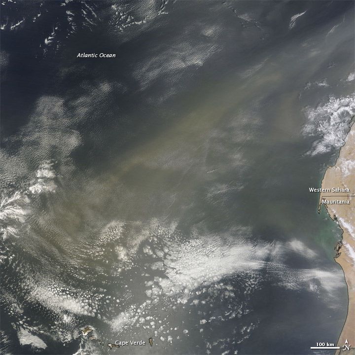 Dust over the Atlantic Ocean