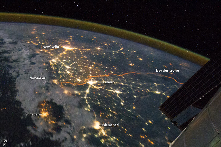 India-Pakistan Borderlands at Night