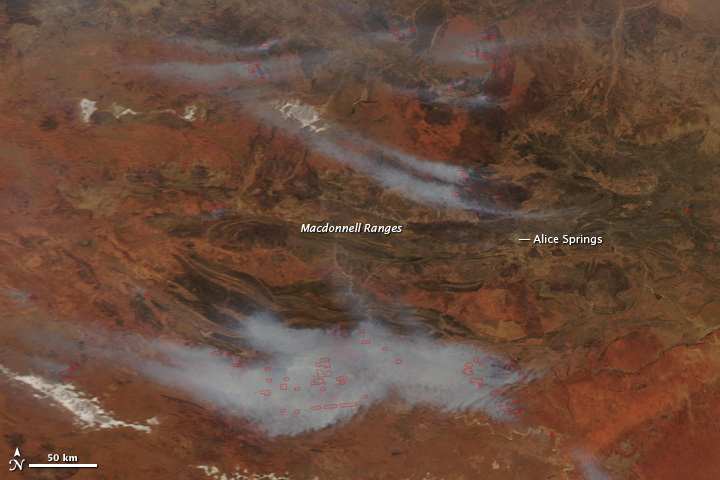 Fires Near Alice Springs, Australia