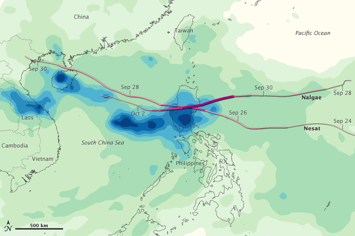 Typhoons Nesat and Nalgae Soak The Philippines