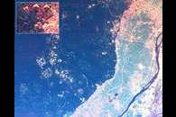 Space Radar Image of Giza Egypt - with enlargement