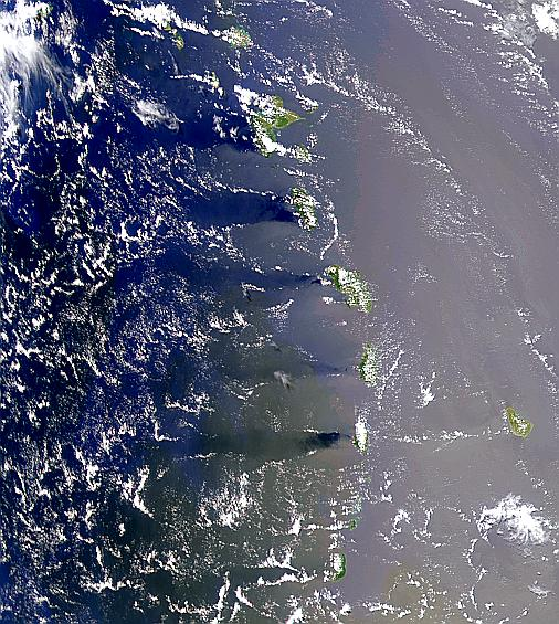 Island Wakes and Sunglint in the Windward Islands - related image preview