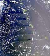 Island Wakes and Sunglint in the Windward Islands - selected image