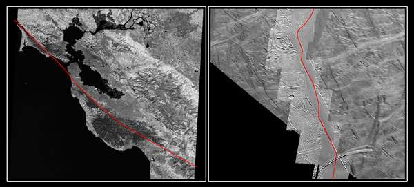 The San Andreas Fault and a Strike-slip Fault on Europa - related image preview