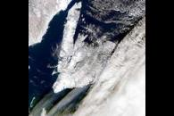 Large Cloud Shadows Near Newfoundland