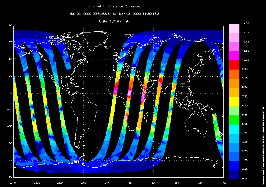 MOPITT First Light Radiances from March 3, 2000 - related image preview