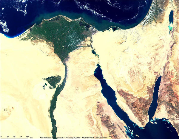 Nile Delta and Sinai Peninsula from MODIS - related image preview