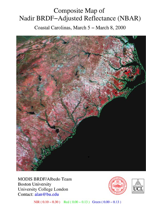 Composite Map of Nadir BRDF-Adjusted Reflectance (NBAR) - Coastal Carolinas, March 5 - March 8, 2000 - related image preview