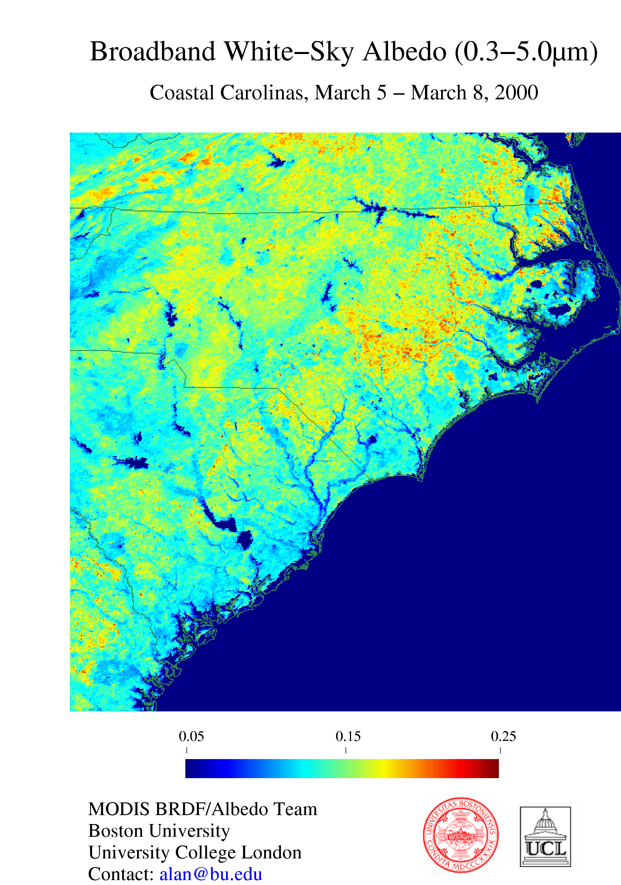 Broadband White-Sky Albedo (0.3 - 0.5 microns) - Coastal Carolinas, March 5 - March 8, 2000 - related image preview