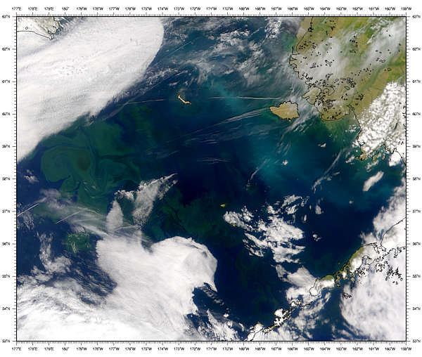 Contrails over Bering Sea - related image preview