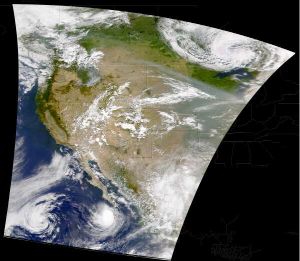 Smoke in Western U.S., Storms in Pacific - related image preview