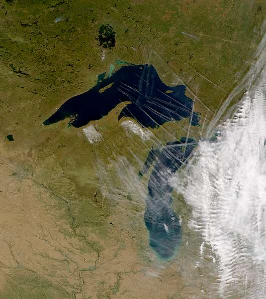 SeaWiFS: Contrails Over Lake Superior - related image preview