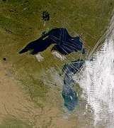 SeaWiFS: Contrails Over Lake Superior - selected image