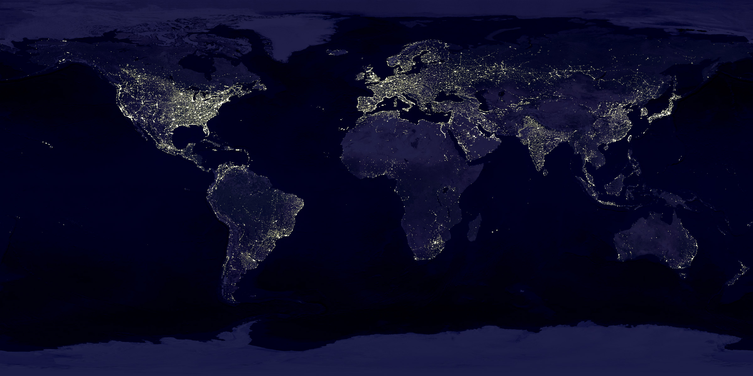 Planisphère nocturne - Data courtesy Marc Imhoff of NASA GSFC and Christopher Elvidge of NOAA NGDC. Image by Craig Mayhew and Robert Simmon, NASA GSFC