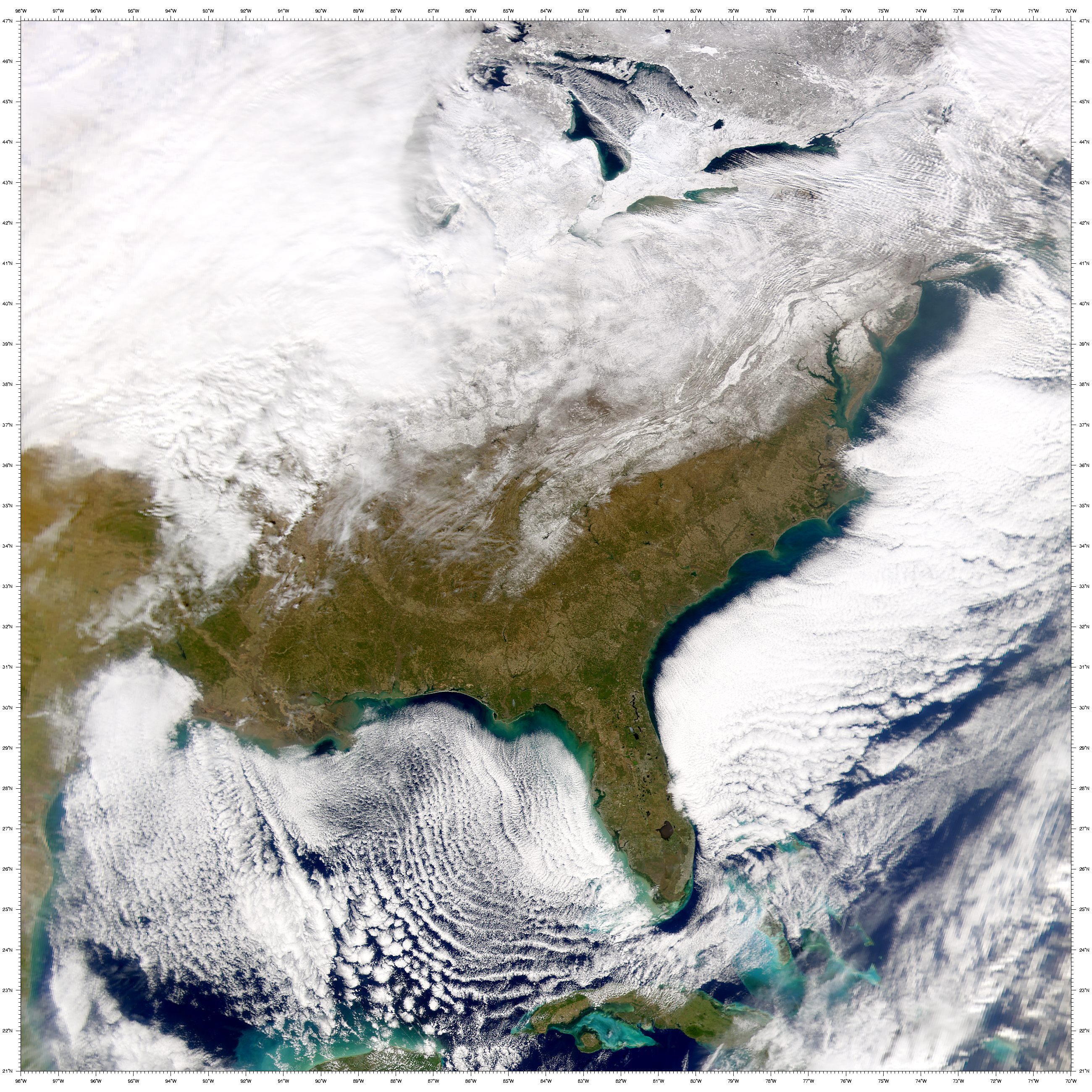 SeaWiFS: Eastern U.S. after snowfall - related image preview
