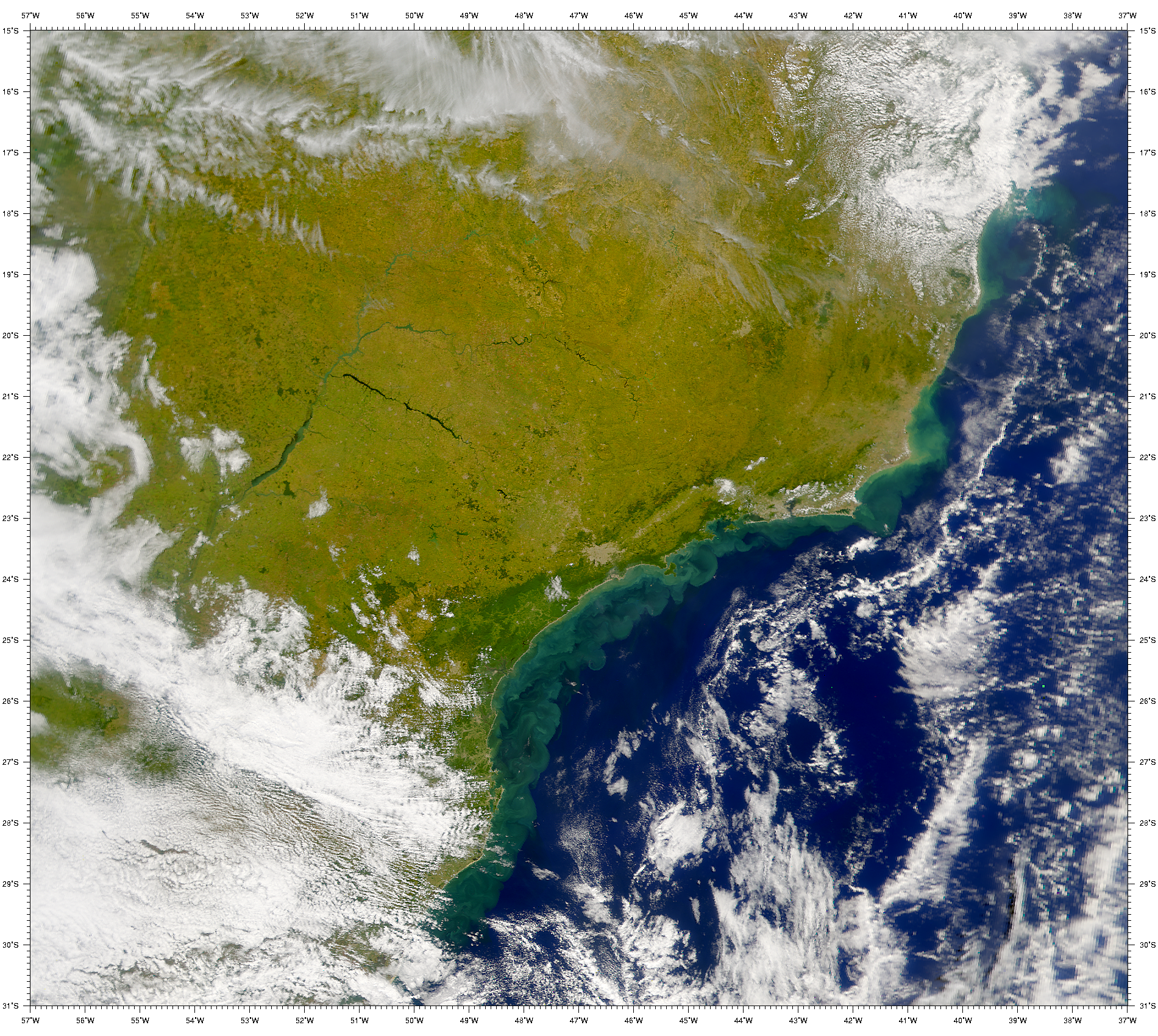 SeaWiFS: Turbid Waters Along the Coast of Southern Brazil - related image preview