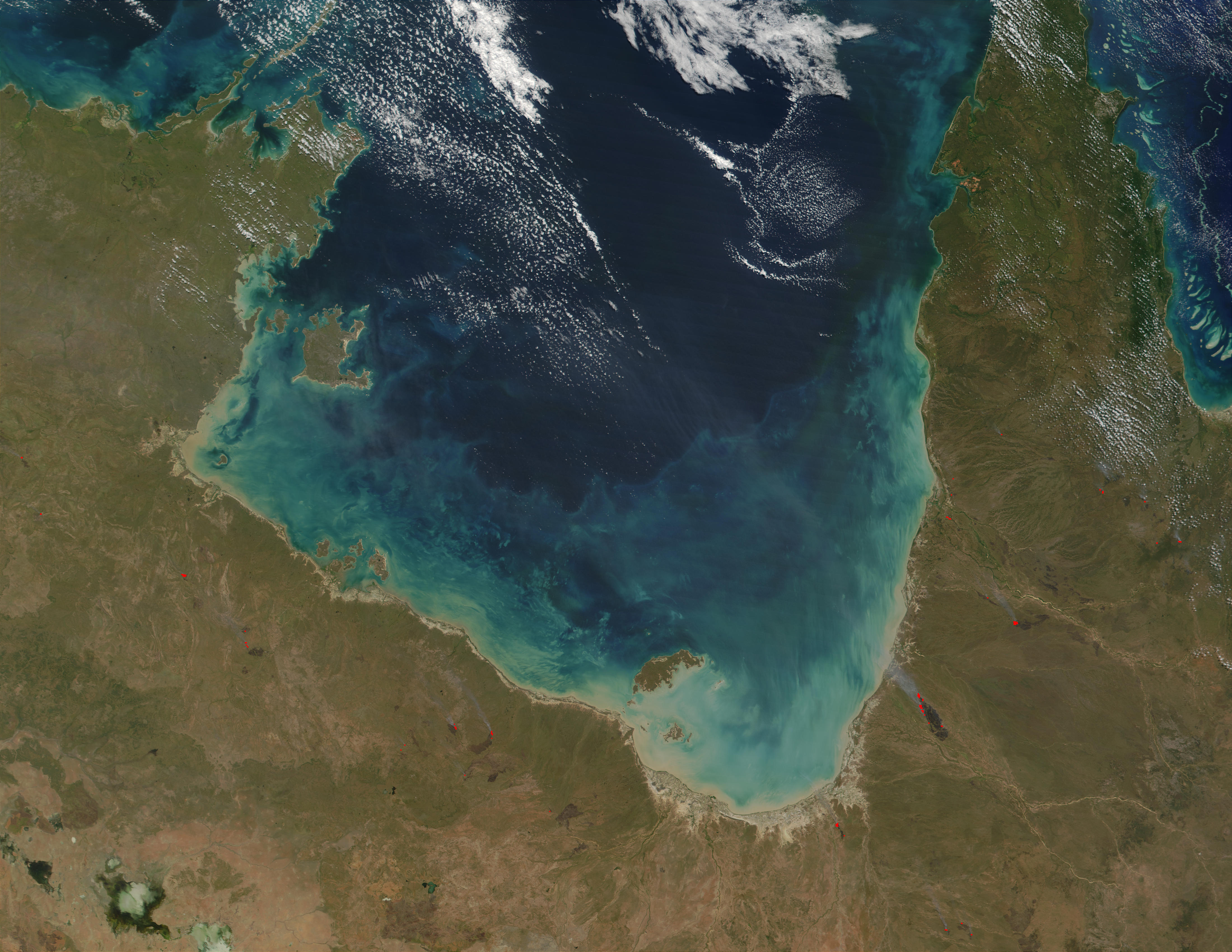 Fires along the coast of Gulf of Carpentaria, Northern Australia - related image preview