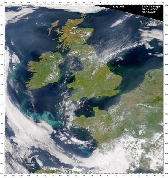 SeaWiFS: Phytoplankton Blooms in the United Kingdom and Ireland - related image preview