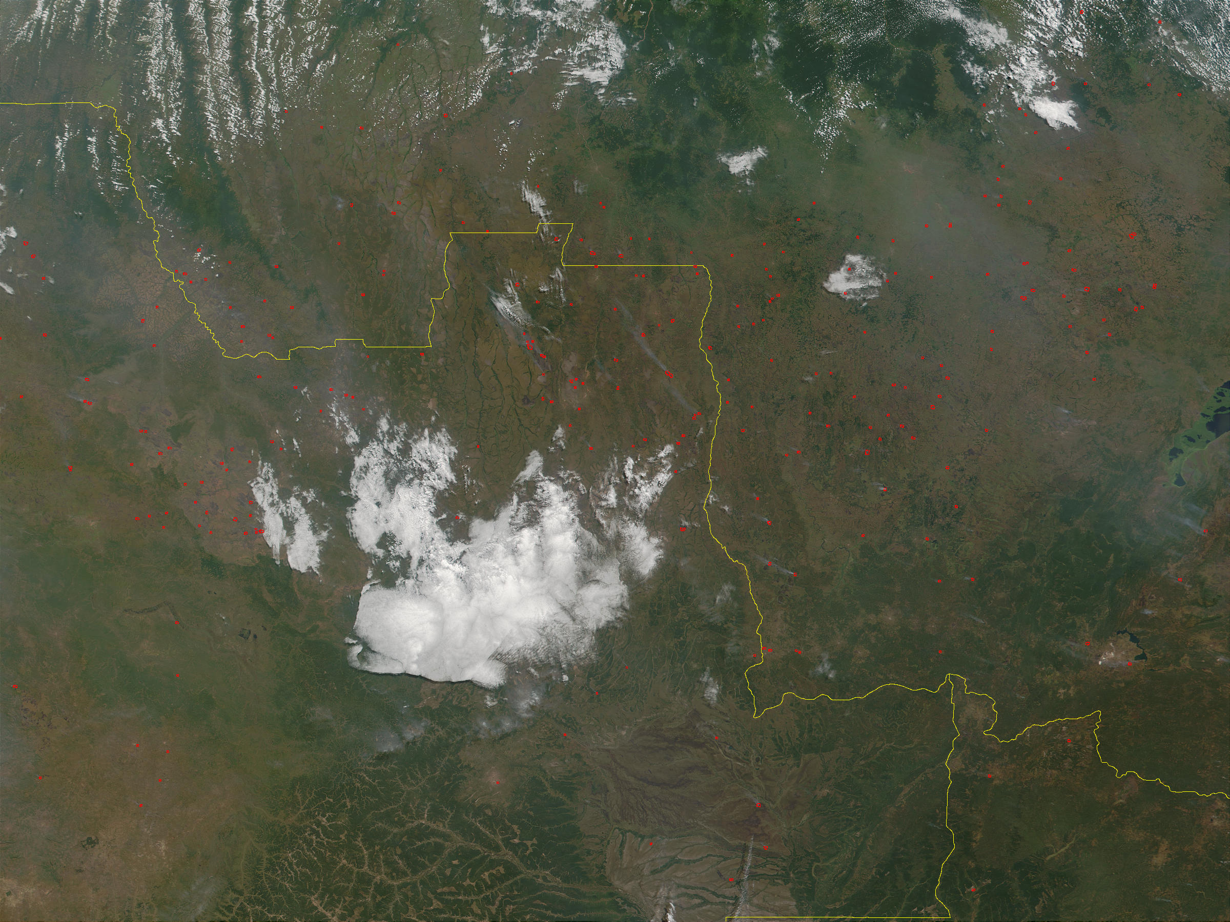 Fires in Angola (lower left) and Republic Democratic of the Congo (upper right) - related image preview