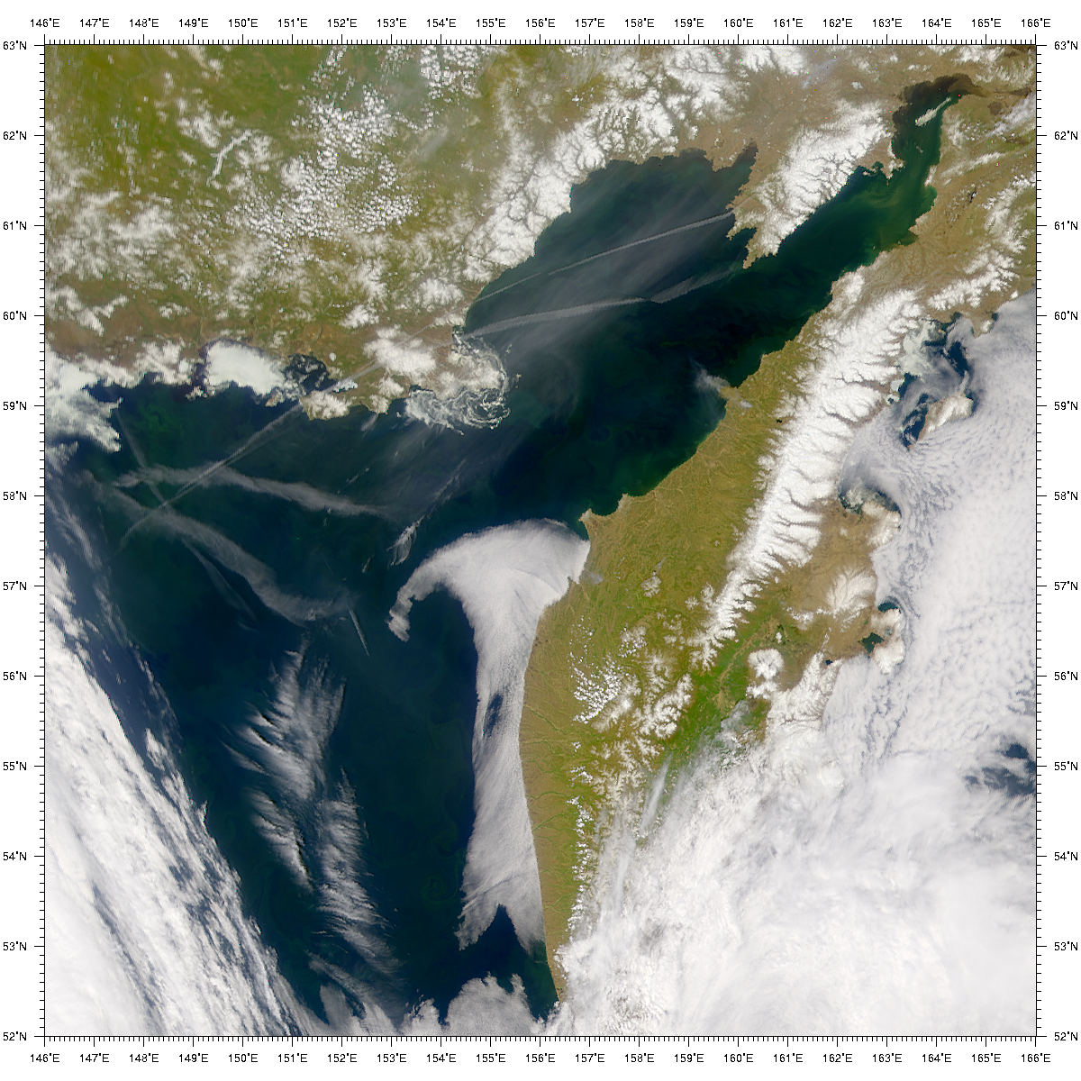 SeaWiFS: Kamchatka Smoke Plume and Contrails - related image preview