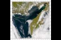 SeaWiFS: Kamchatka Smoke Plume and Contrails