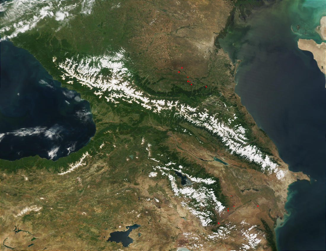 Caucasus mountains, Black Sea, and Caspian Sea - related image preview