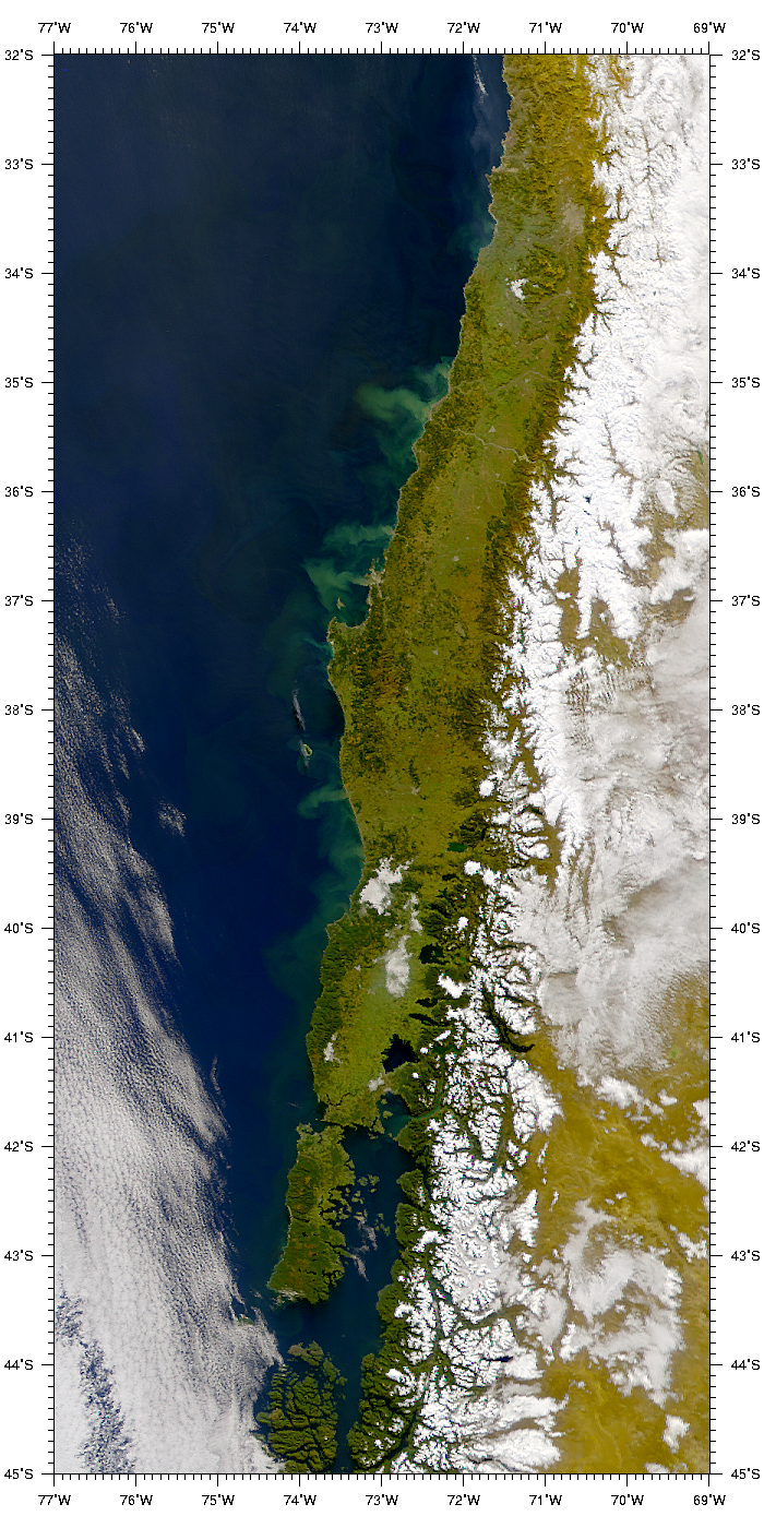 SeaWiFS: Sediment Plumes off the Coast of Chile - related image preview