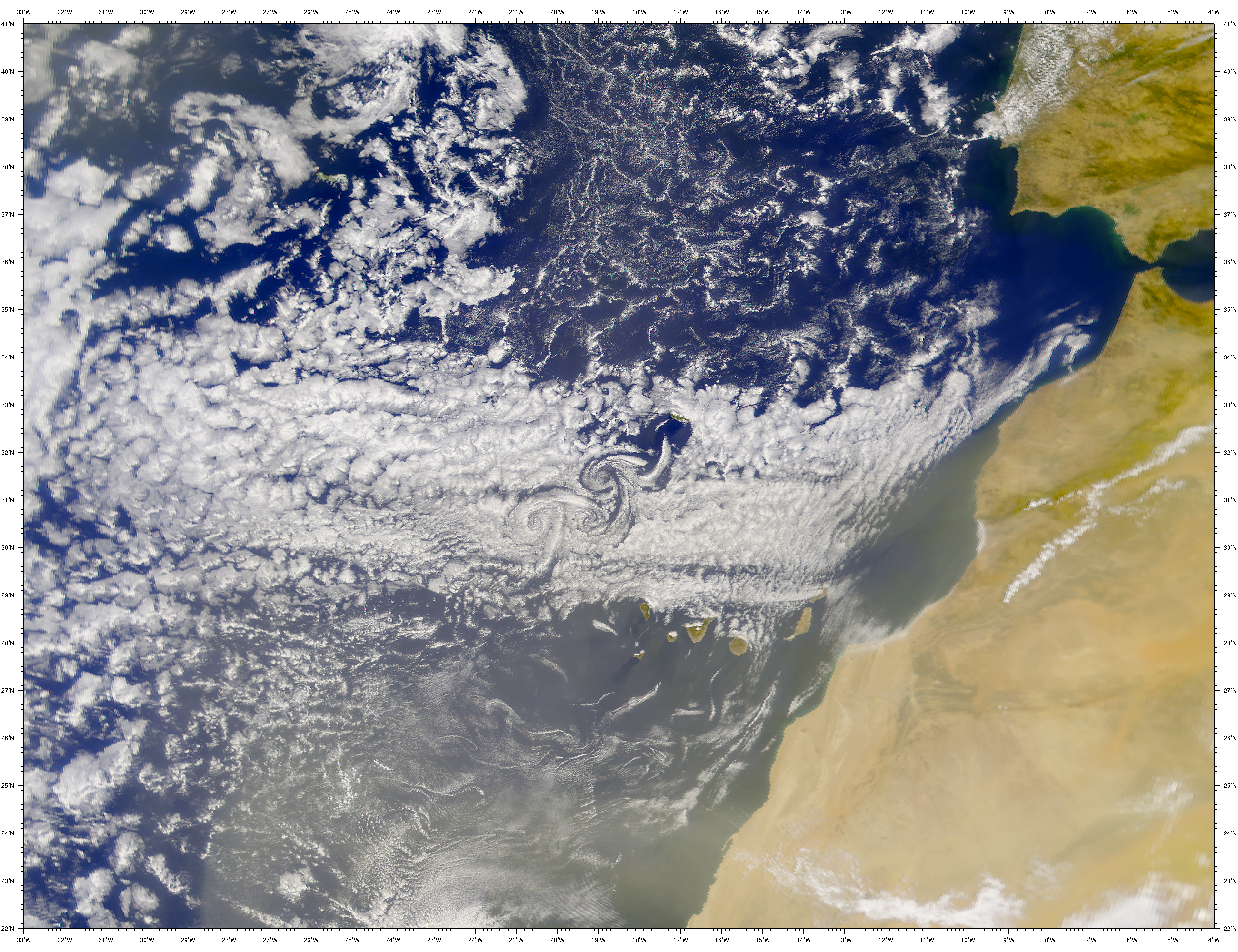 SeaWiFS: Madeira Island Vortex Street - related image preview