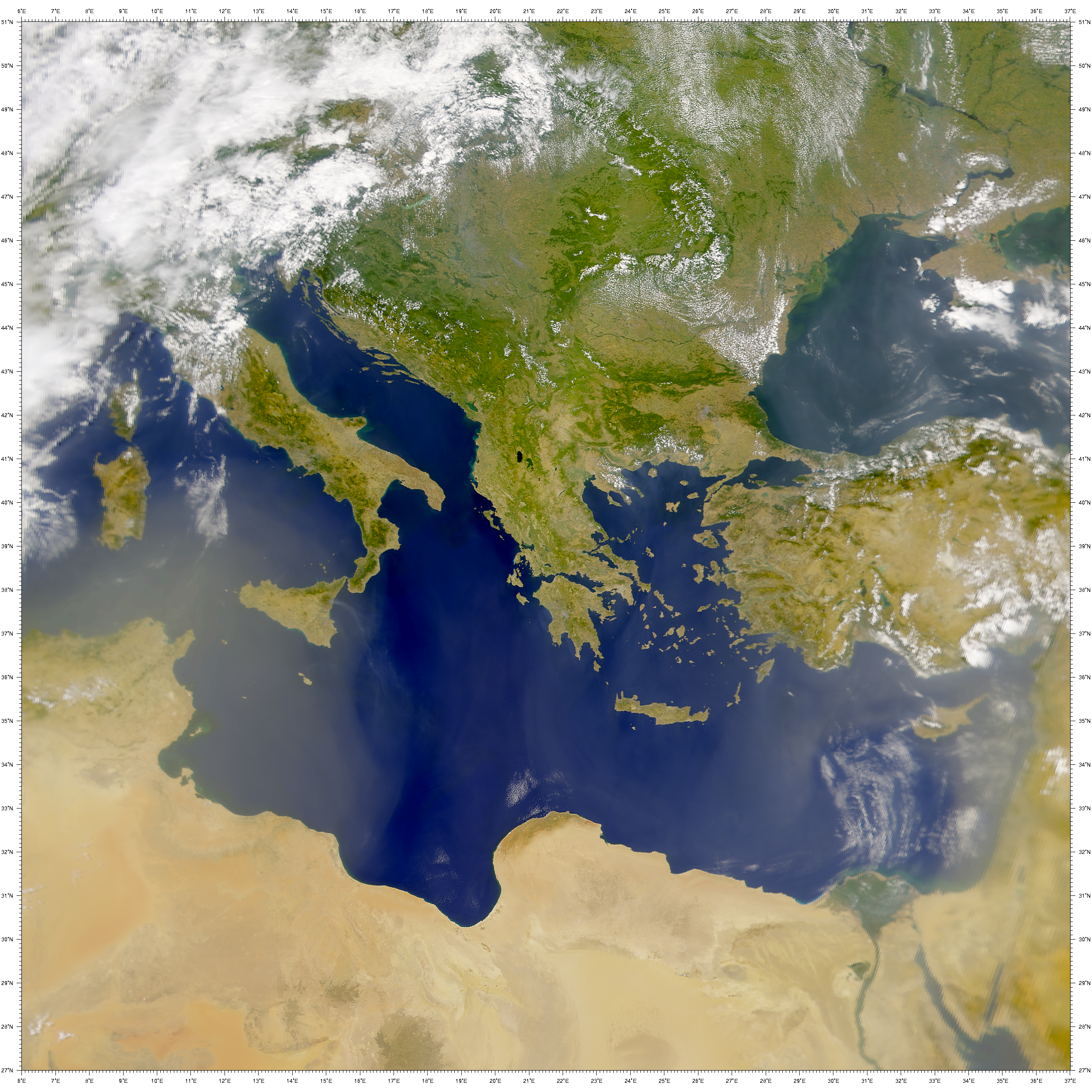 NASA Visible Earth: SeaWiFS: Hazy Eastern Mediterranean