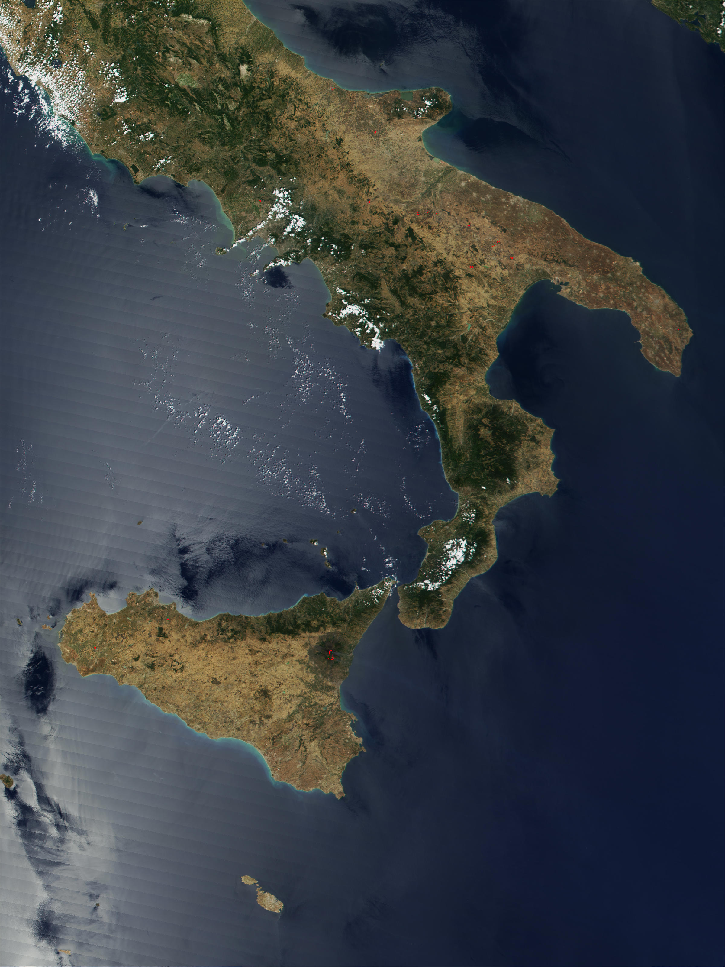Fires in Southern Italy, and lava flow from Mount Etna in eruption in Sicily - related image preview