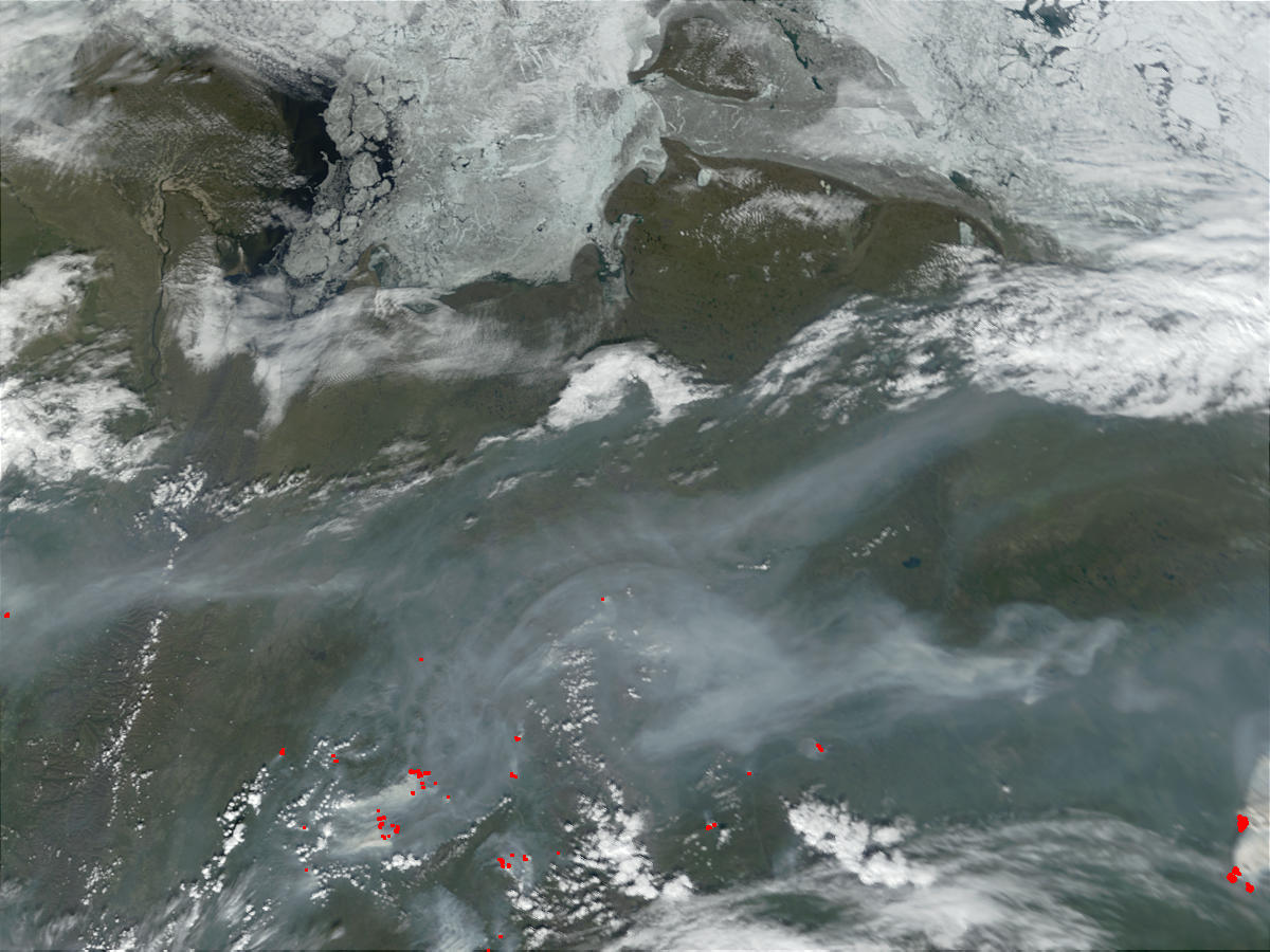 Fires and smoke in Northern Sakha State in Siberia, Russia - related image preview