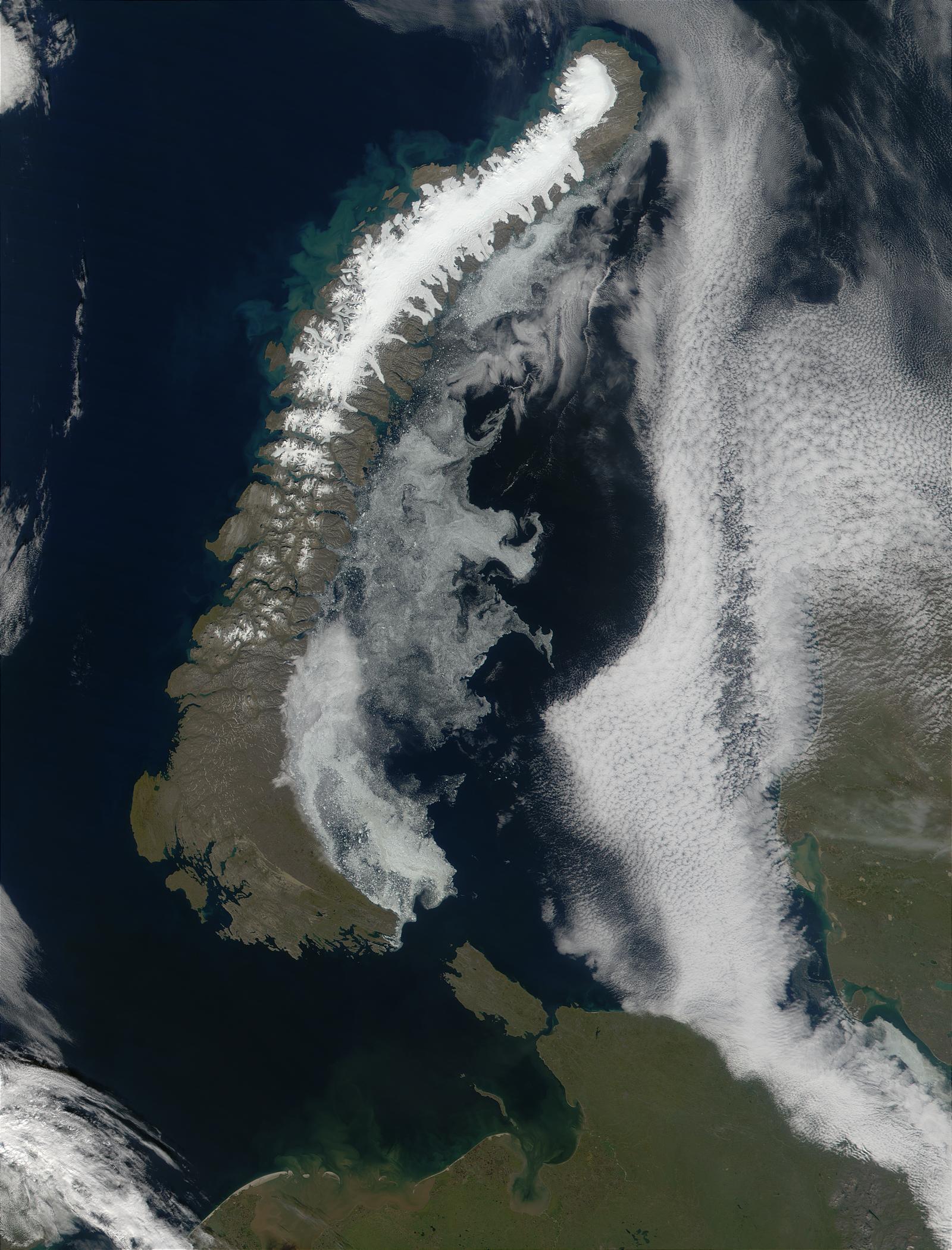 Phytoplankton bloom along the coast of Novaya Zemlya, Russia - related image preview