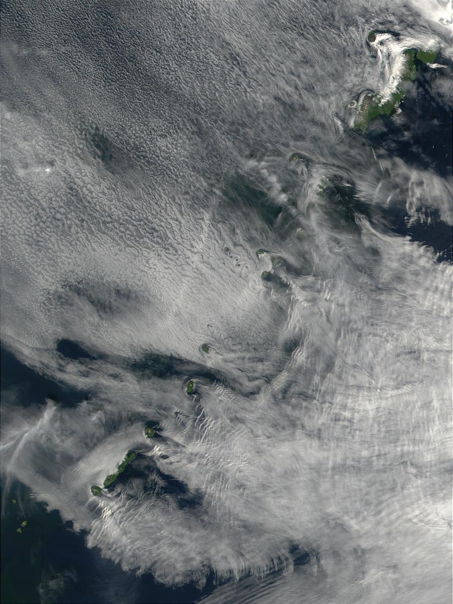 Wake effects in Kuril Islands, Sea of Okhotsk, Russia - related image preview