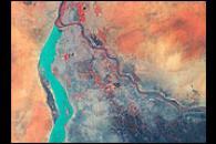 Nile River Fluctuations Near Khartoum, Sudan