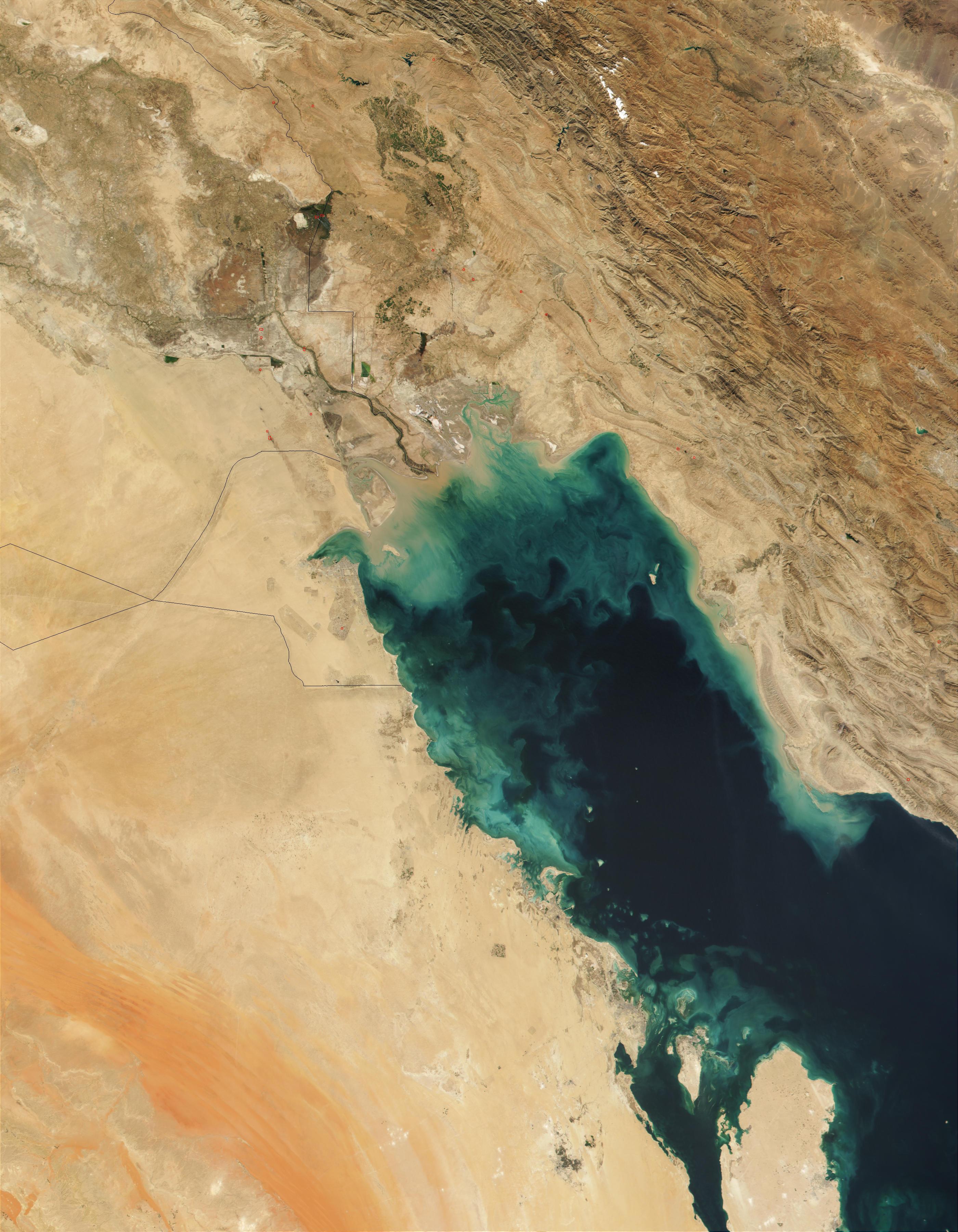 Nasa Visible Earth Phytoplankton Bloom In Persian Gulf