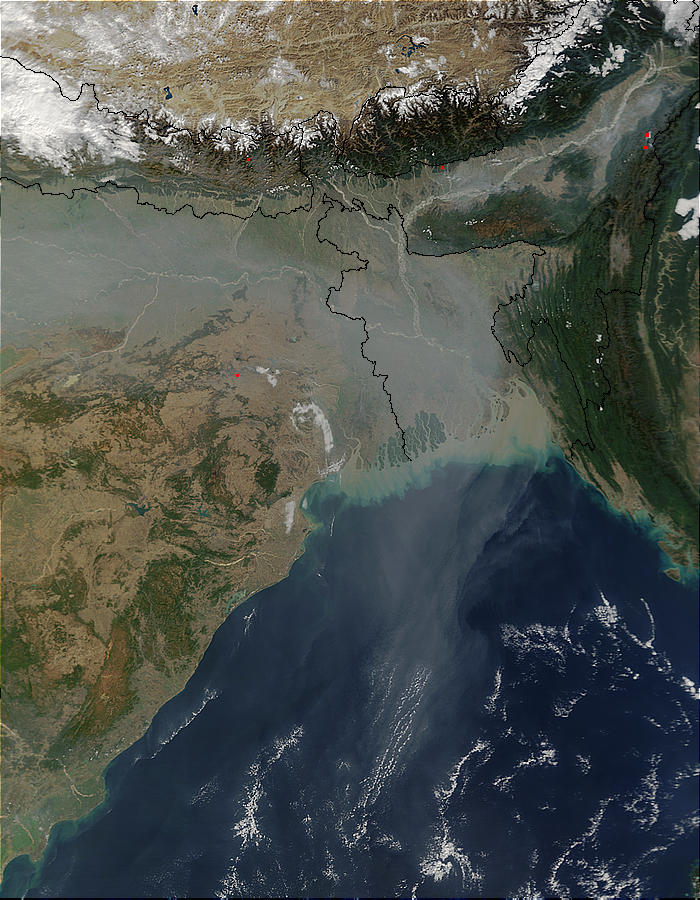Aerosol pollution over Northern India, Bangladesh, and Bay of Bengal - related image preview