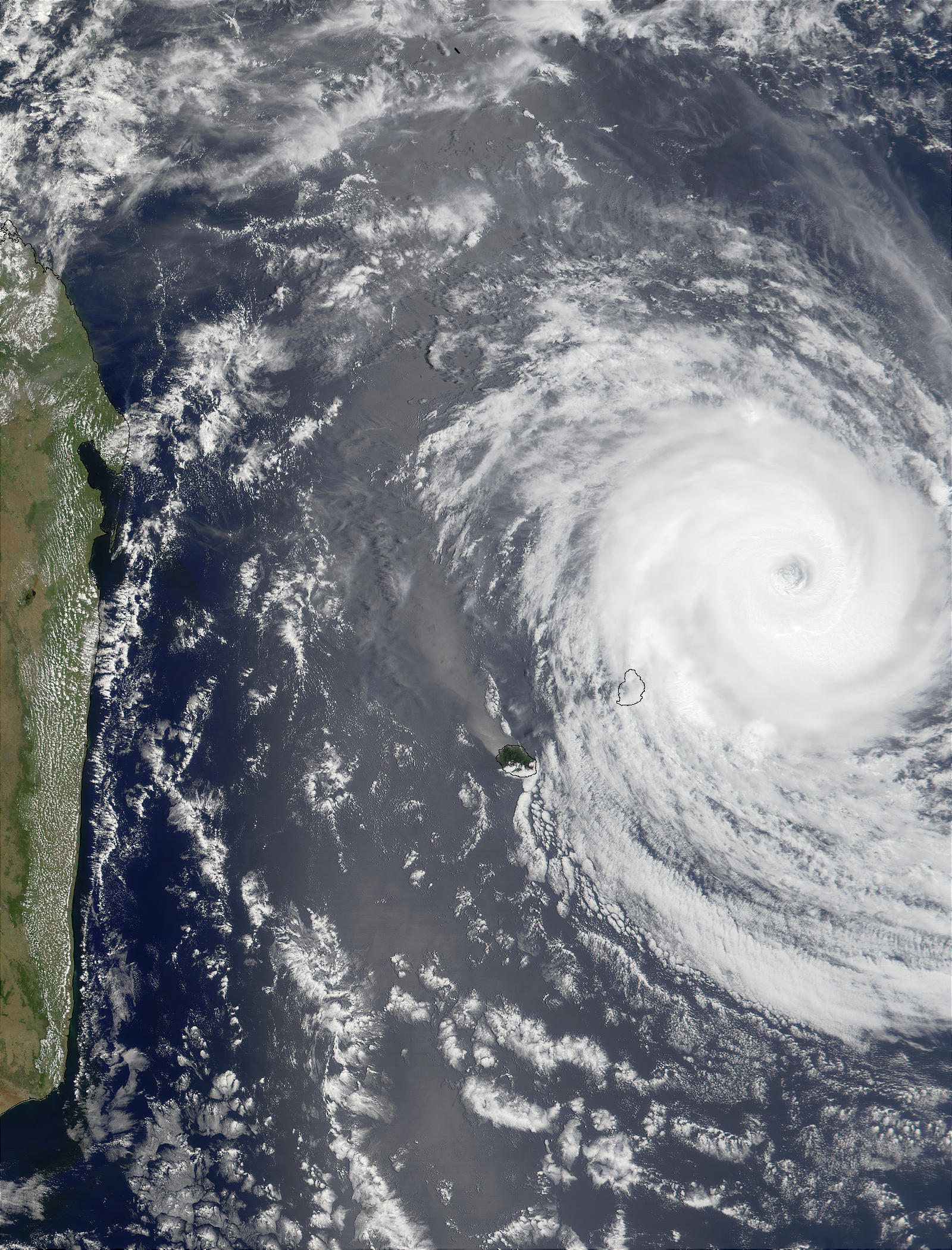 Tropical Cyclone Dina (10S) northeast of Mauritius and Reunion Islands, Indian Ocean - related image preview
